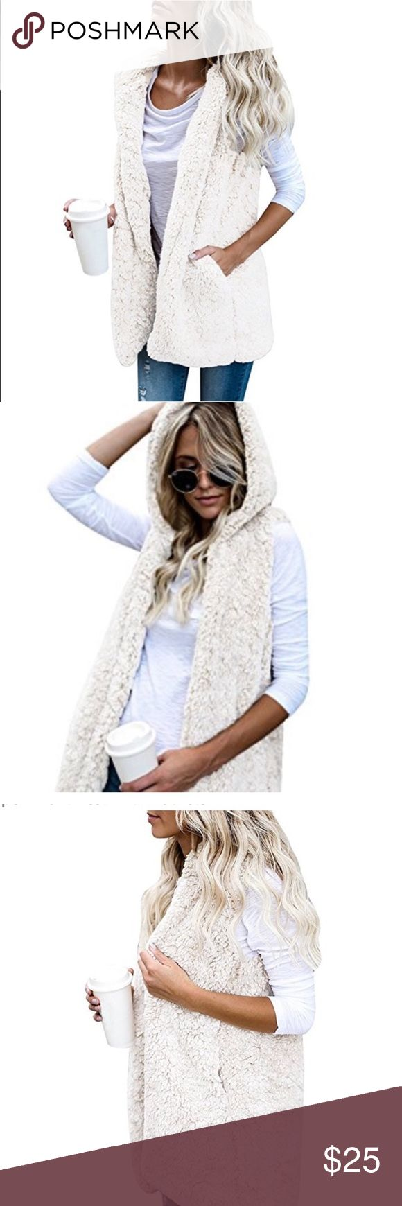 Women's sleeveless fuzzy Vest! Women's fuzzy sleeveless Cardigan Hoodie Sherpa Fleece! Open Front Vest with Pockets! Jackets & Coats Vests