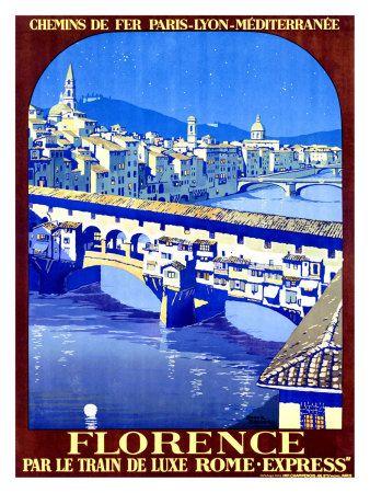 Firenze Stampa giclée di Roger Broders   #TuscanyAgriturismoGiratola