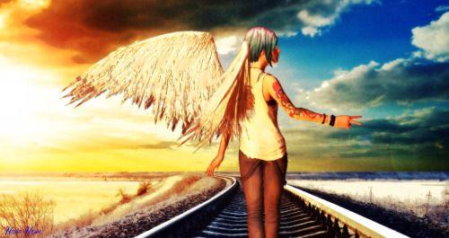 angel, chloe, chloe price, life is strange, sunset, train tracks