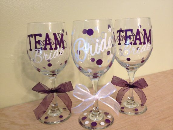 "Quantity 9 TEAM bride, Extra large, Personalized Wine glasses, 20 oz size with name and ""TEAM Bride"" for bachelorette party, Bridal party"
