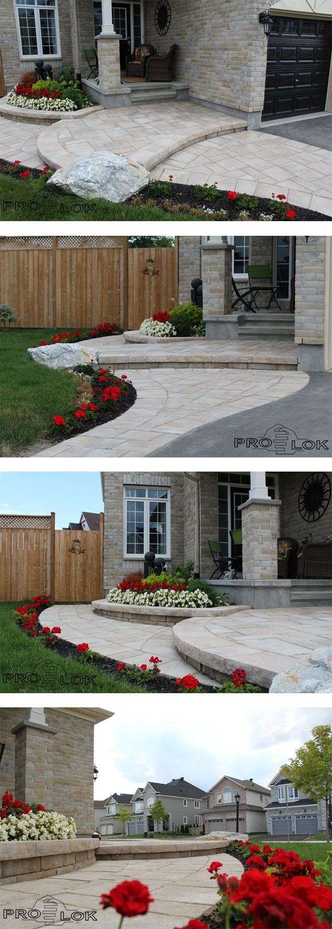 Simple yet elegant border stretches to steps and an accent stone, which further leads to the backyard poolside patio. // Products by Permacon. // #landscaping #patio #walkway #homeimprovement #frontentrance #accent #flowers #gardens