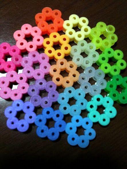 Rainbow flower coaster perler beads by maco                              …