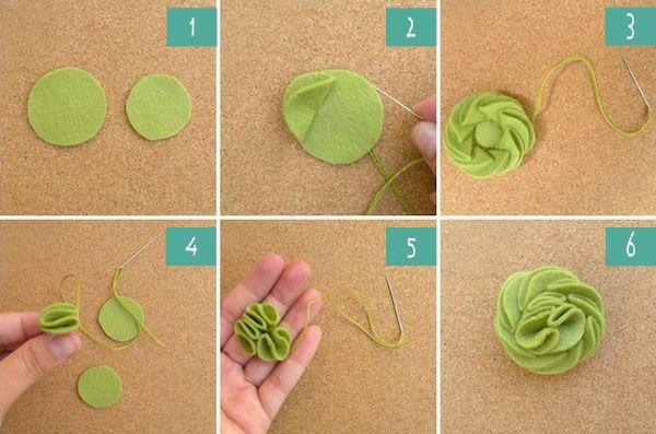DIY felt rosette hair clip