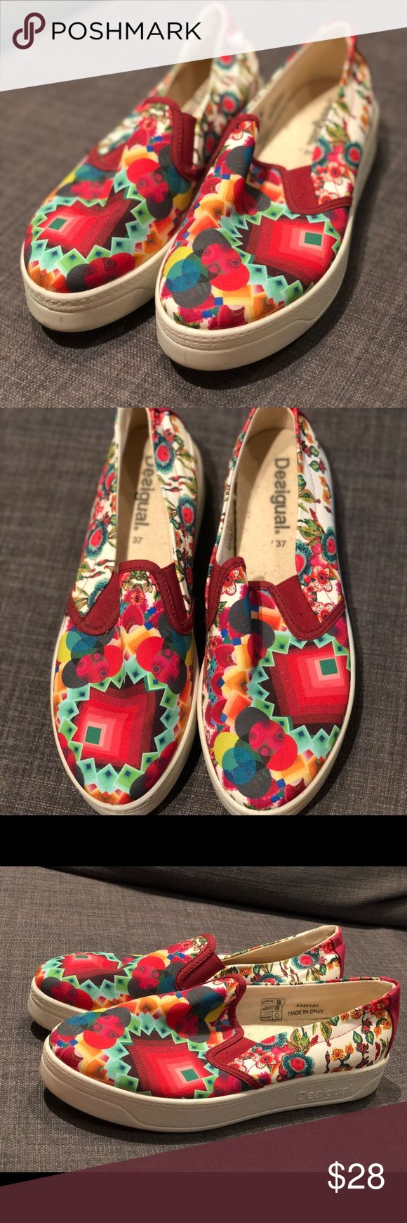 Desigual Canvas Shoes 6.5 NWT BRAND NEW, with tags, colorful & cute Desigual canvas slides. Size 6.5 USA, originally retails for $79 Desigual Shoes Sneakers
