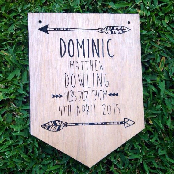Personalised Wooden Baby Announcement w' Arrow Plaque. Nursery Decor. Baby Gift.  | eBay
