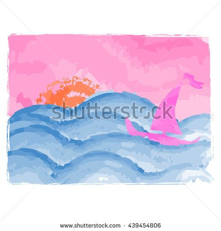 #Yacht is on a #journey #quest. #Sailboat in the #sea at #sunset ... #Watercolor ... #asiyaya #design ...