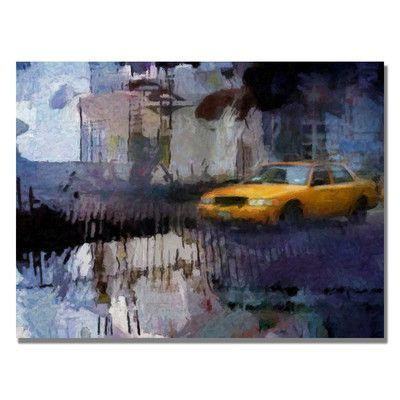 """Trademark Art """"Yellow Cab"""" by Adam Kadmos Painting Print on Wrapped Canvas Size:"""