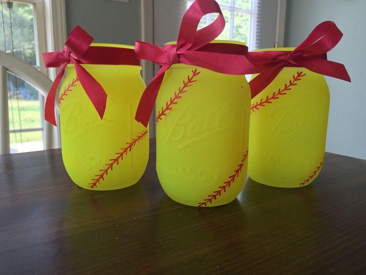 Softball Mason Jars. Painted Mason Jars. Party Decor. Softball Theme. Ball Mason Jars. by ChalkandPatina on Etsy https://www.etsy.com/listing/231986946/softball-mason-jars-painted-mason-jars