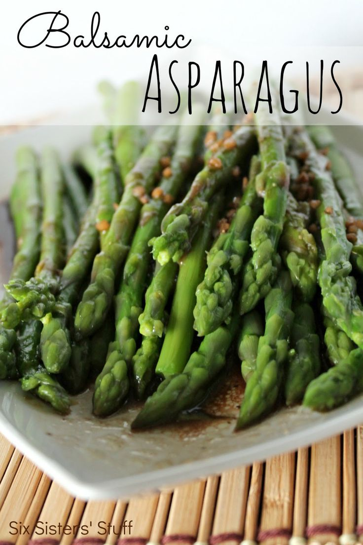 Balsamic Asparagus from SixSistersStuff.com.  An easy, delicious side dish for any meal! #sidedish #vegetables #asparagus