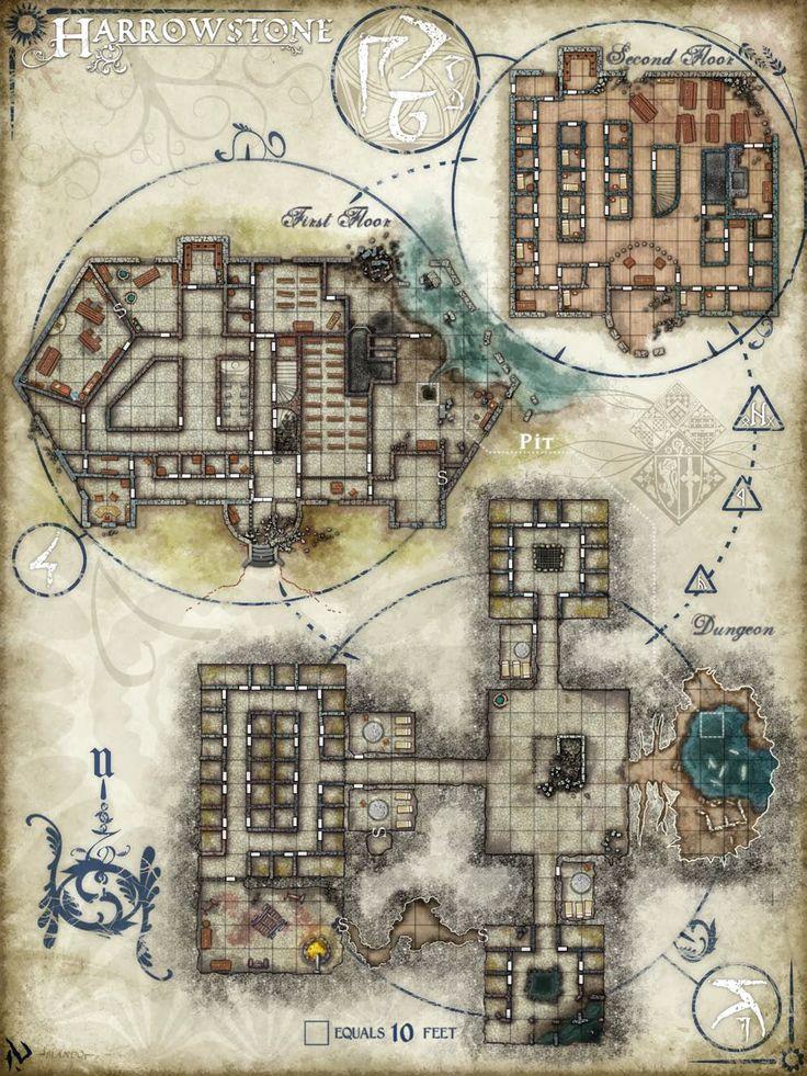 Prinson floorplan harrowstone prison rpg maps for Floor 2 dungeon map