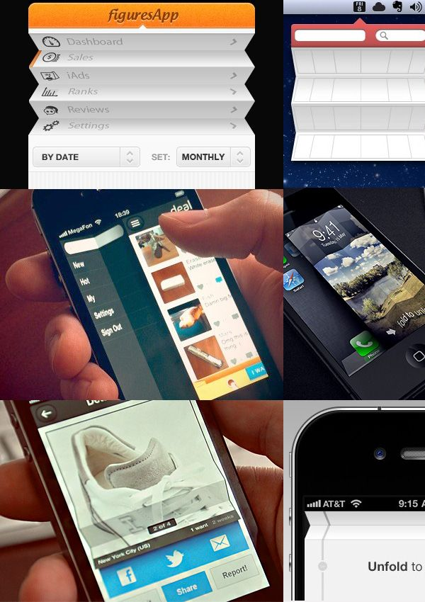Folding Examples | UI Design Elements