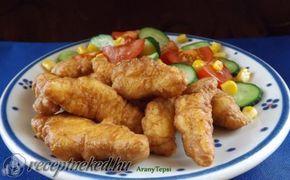 Csirkecsíkok fokhagymás-tejfölös bundában recept fotóval