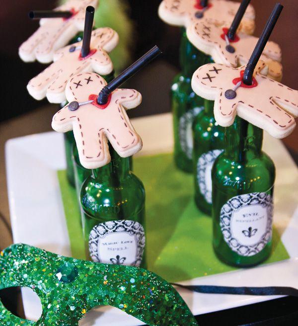 {New Orleans Style} Adult Halloween Voodoo Party - voodoo doll cookie drink topper