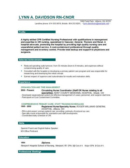 25+ parasta ideaa Pinterestissä Nursing resume Hoitoalan - example of nursing resumes
