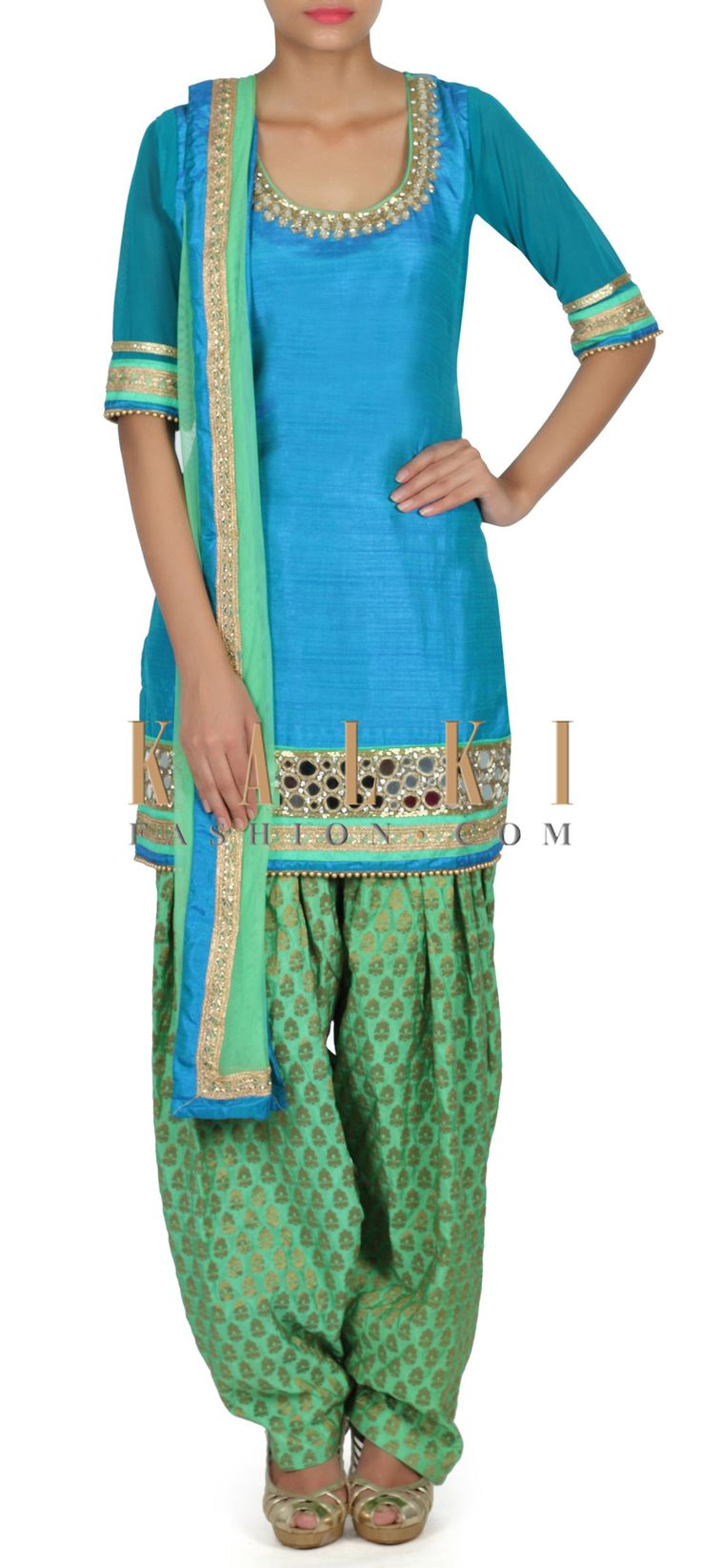 Buy this Featuring blue and green patiyala suit in mirror only on Kalki