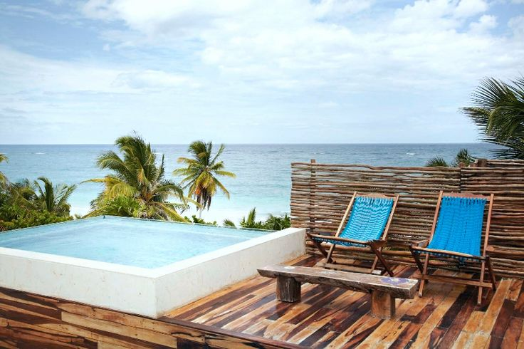 Overlook the #RivieraMaya as you relax in the hot-tub at this gorgeous boutique hotel in #Mexico.