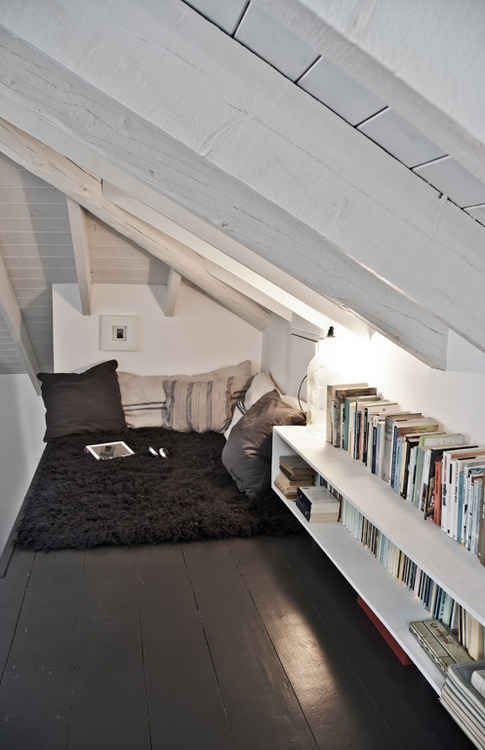 21 Cozy Makeshift Reading Nooks. I like the idea of having it in the attic.