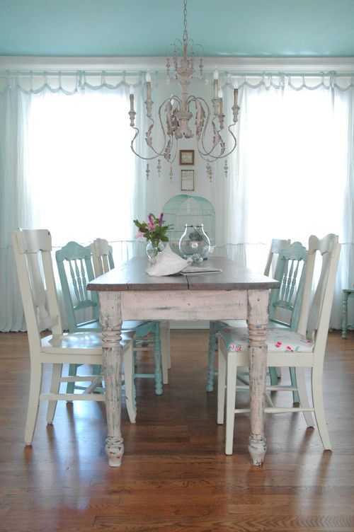 shabby chic dining room in blue and white chic dining room table