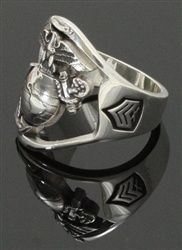 Solid Sterling Silver Marine Corps Ring with Rank embedded on side