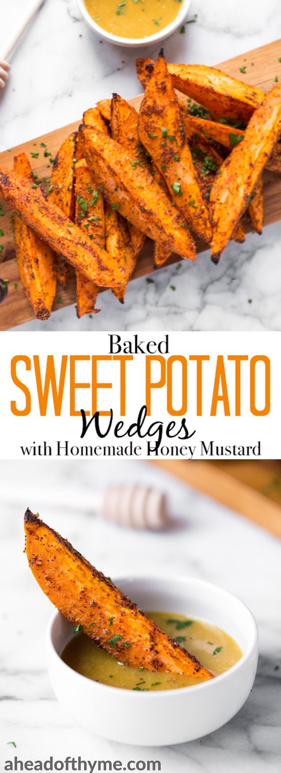 Pair baked sweet potato wedges with warm spices and a homemade honey mustard dipping sauce and serve as an appetizer or side on game day or on any occasion! | aheadofthyme.com