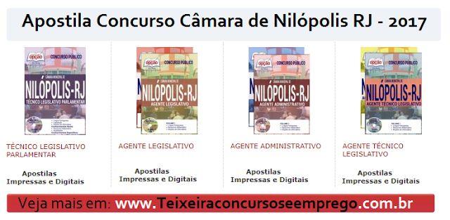 Apostila Concurso Público Câmara de Nilópolis RJ 2017, Matérias atualizadas em PDF, Impressa, Digital por Download,
