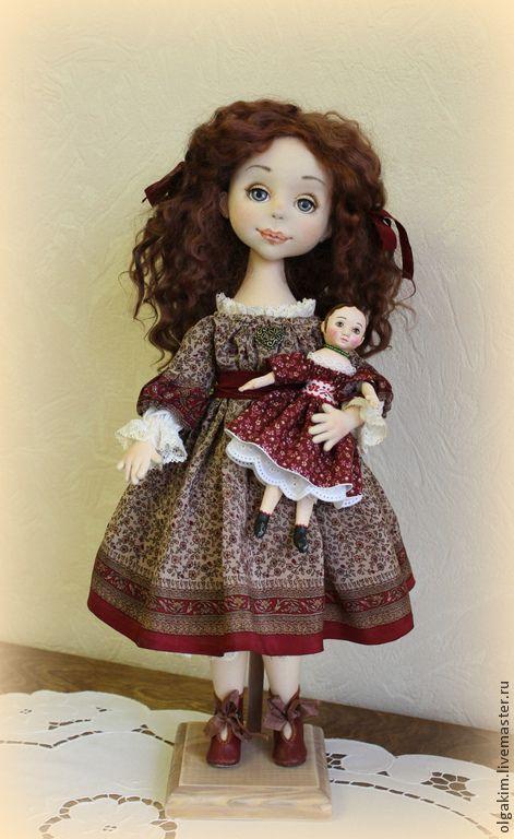Купить Белль и Изанна - бордовый, интерьерная кукла, авторская кукла, любимая игрушка