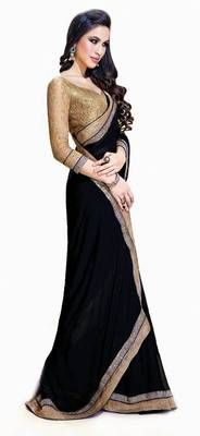 Jai ho bollywood black chiffone saree. I found this beautiful design on Mirraw.com