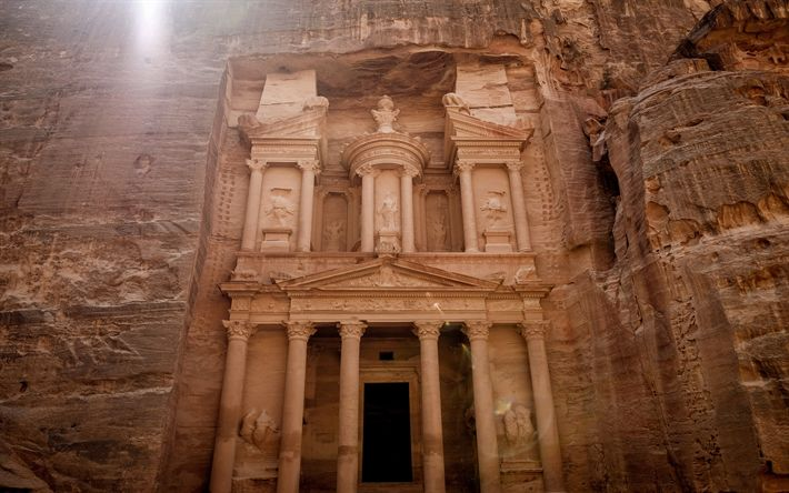 Download wallpapers Petra, ancient city, Sik Canyon, Jordan, tourism, travel, interesting places, attractions
