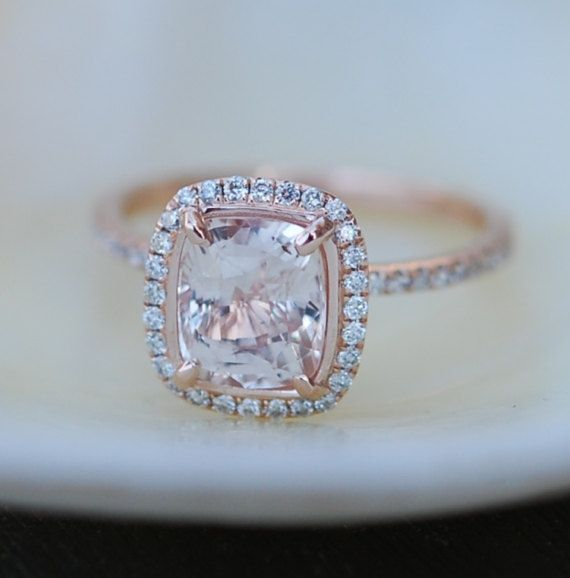 White sapphire engagement ring. 14k rose gold engagement ring.