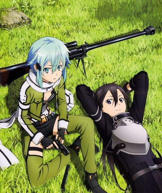Estos son dos personajes del anime Gun Gale Online que es la segunda temporada de Sword are Online.