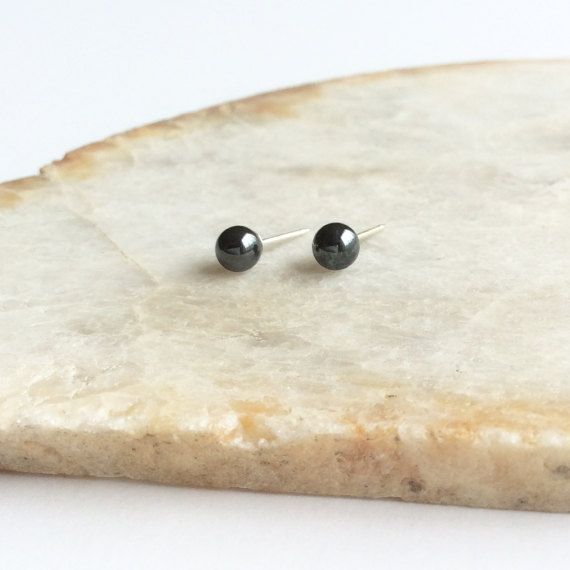 Hematite Stud Earrings 4mm Grey Earrings Hematite Jewelry