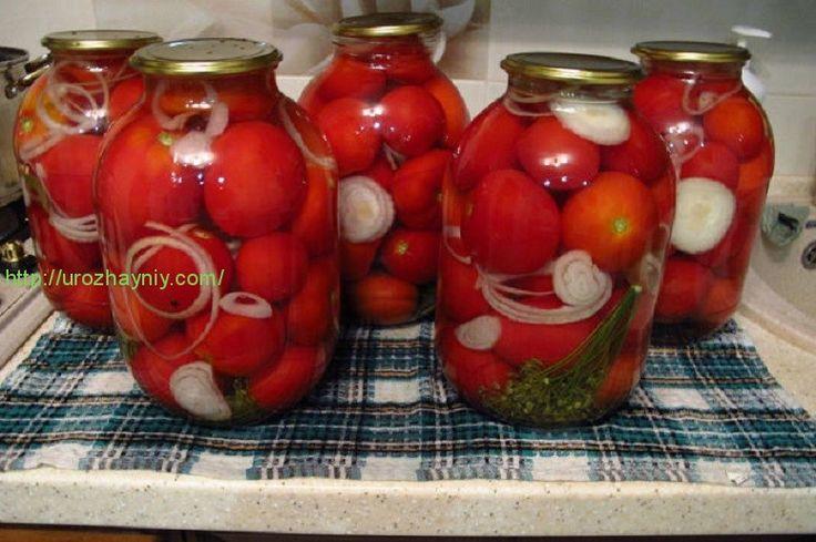 Рецепт маринованных помидоров на зиму  Этот рецепт маринованных помидоров на зиму очень прост. В подготовленные банки укладываю: 3 горошины душистого перца, 5 горошин - черного, 5 бутонов гвоздики, зонтик укропа, 2 лавровых листа. Заполняю банки помидорами, перемежаю кольцами репча