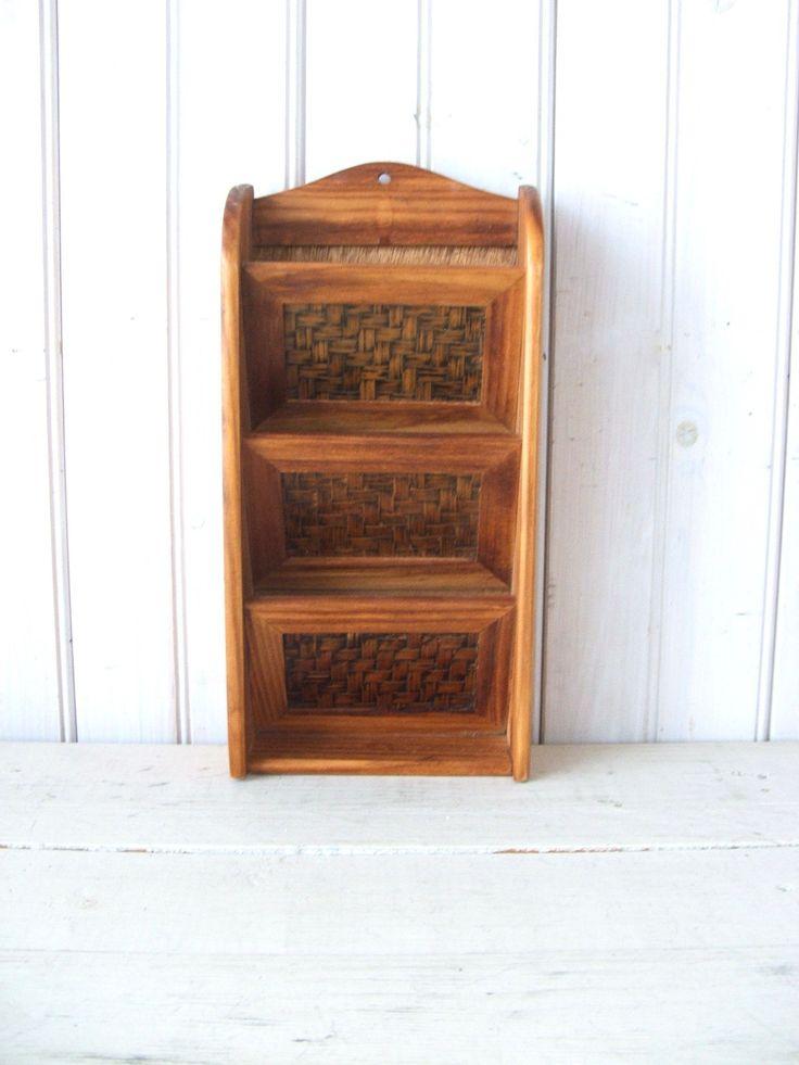 Vintage Wooden Letter Holder Wall Hanging Basket Weave in