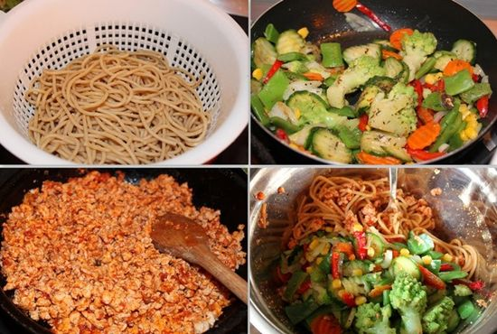 макароны с фаршем из индейки и овощами