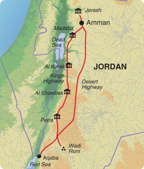 Map of Exodus Travels Week in Jordan trip itinerary.