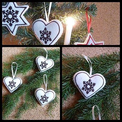 Filzherzen 3er Set mit gestickter Schneeflocke von Die Geschenkidee auf DaWanda.com