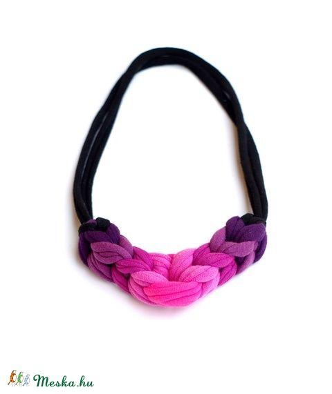 LOOPY  textilnyaklánc - pink/lila/fekete (cirrhopp) - Meska.hu