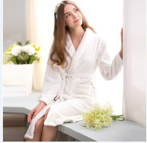Bath Robe Female Lovers Coral Fleece 9 Colors Night Gown Spa Bathrobe Unisex Bath Robe Women Long Sleeve Kimono Womens Gowns