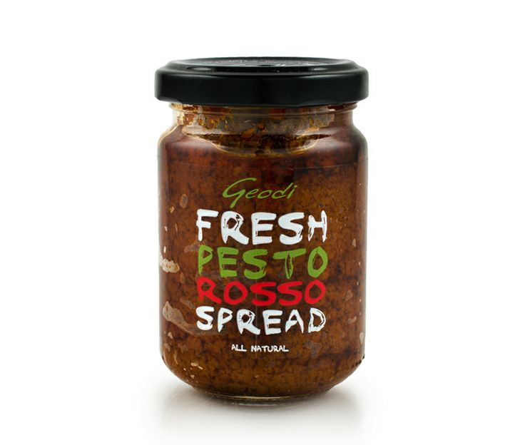 Fresh basil pesto with Sun-dried tomatoes, extra virgin olive oil, almonds, pine nuts, potato, fresh lemon juice, garlic and salt. Enjoy as an appetizer with fresh bread, as a spread on bruschetta or dakos, dips with vegetables or nachos, as a sauce on pasta or risotto.
