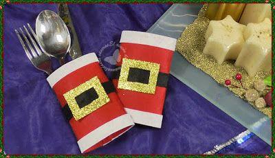 Portacubiertos navideños de fieltro saquito para los cubiertos.