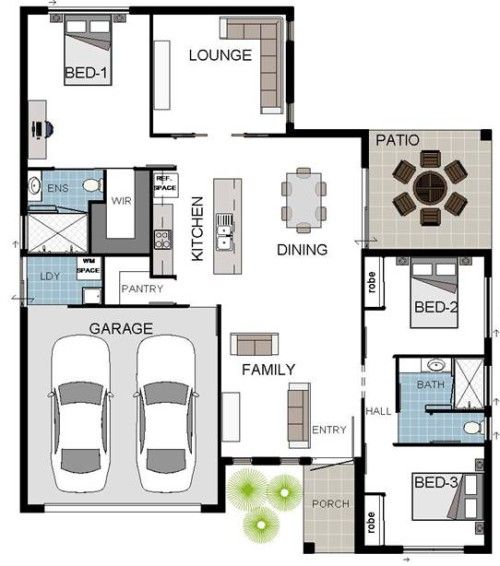 Beachwood 3 Coloured Floorplan 3 Bedroom, 2 Bathroom