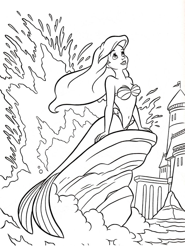 Princess Ariel Walt Disney Coloring Pages