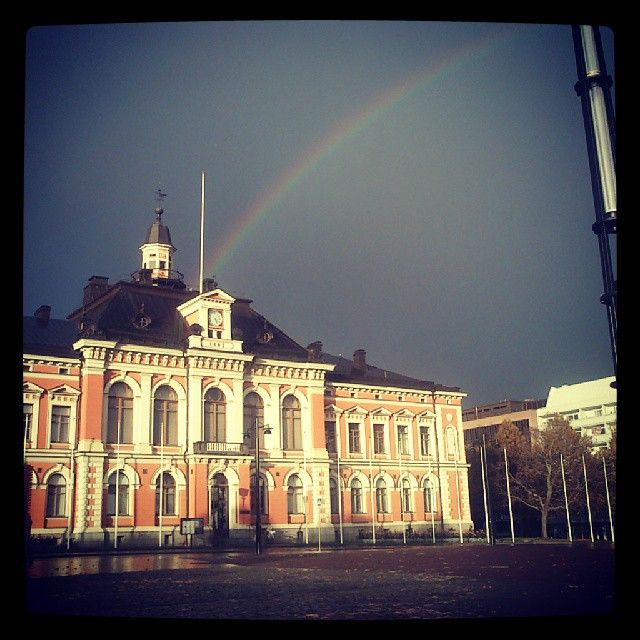 Awesome sky at center today: rain, sun and rainbow on the city hall :) #Kuopio #Kaupungintalo