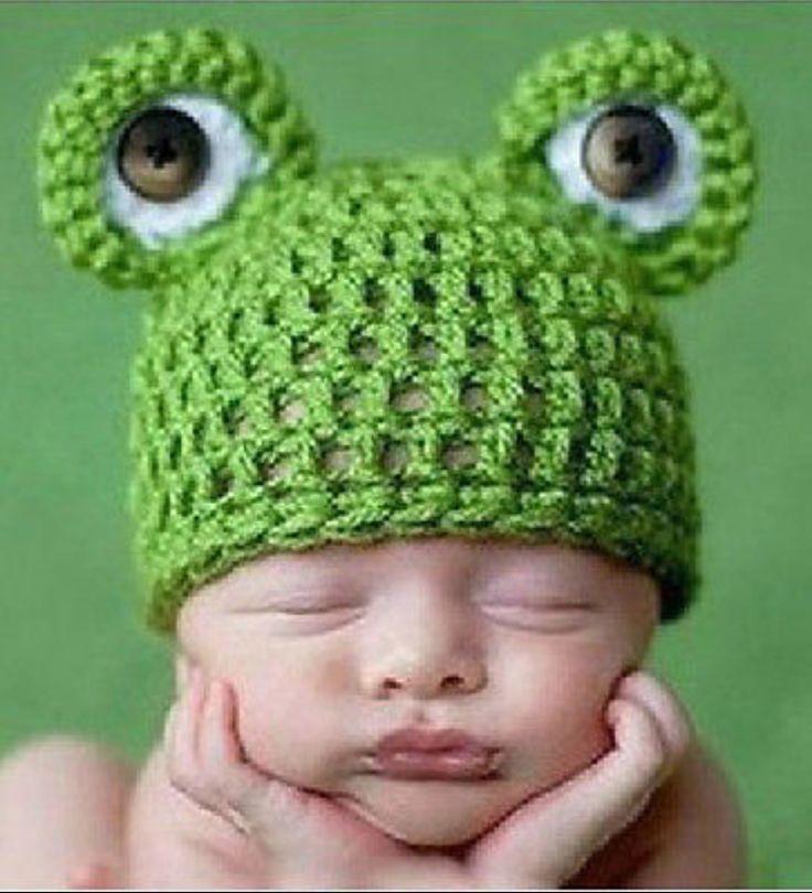 Boy's Crochet Frog Photo Prop