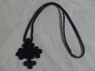 Egyptian Coptic leather cross pendant made by the monks