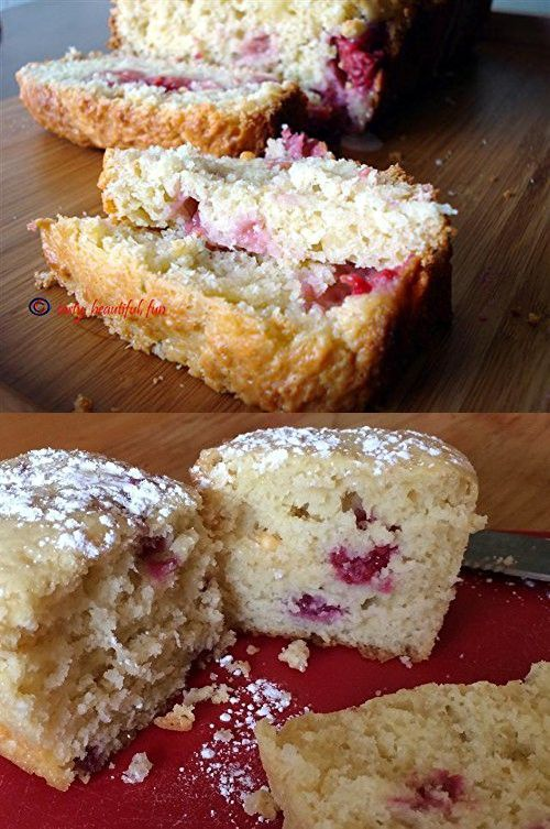 White Chocolate Raspberry Bread Three Loaves Beckeys Kountry Kitchen Homemade great gift for Mom or Holiday gift