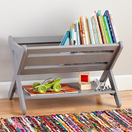 The Land of Nod's Good Read Book Caddy features durable wooden construction and is available in lots of colors that fit with nearly any décor.  It can also be used to store toys, games, knickknacks and more.