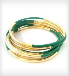 Kelly Green Leather Bangles