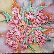 """Аксессуары ручной работы. Ярмарка Мастеров - ручная работа Платок """"Розовые тюльпаны"""". Handmade."""