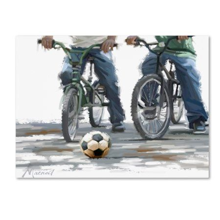 Trademark Fine Art 'Cyclists with Football' Canvas Art by The Macneil Studio, Size: 18 x 24, Blue